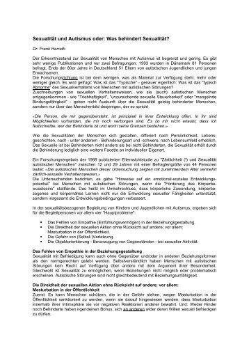 Sexualität und Autismus oder: Was behindert Sexualität - Institut für ...