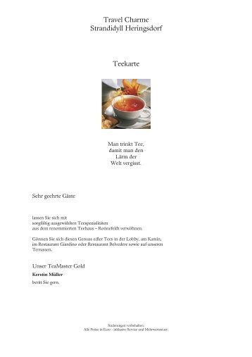 Travel Charme Strandidyll Heringsdorf Teekarte