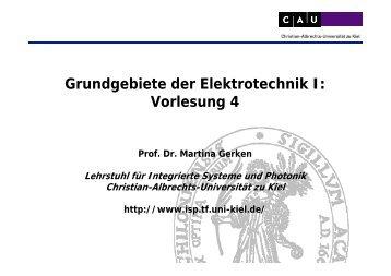 Vorlesung 4 - Arbeitsgruppe: Integrierte Systeme und Photonik ...