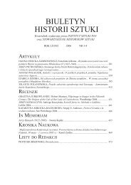 BIULETYN HISTORII SZTUKI - Instytut Sztuki Polskiej PAN