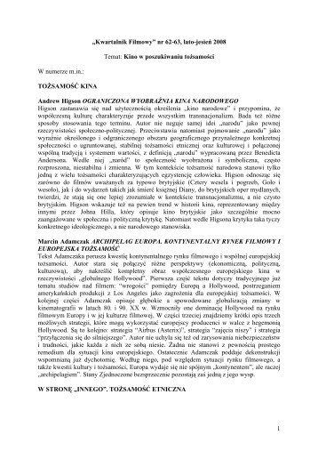 nr 62-63, lato-jesień 2008 Temat: Kino w poszukiwaniu tożsamości ...