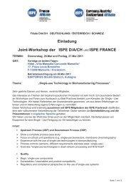 Einladung Joint-Workshop der ISPE D/A/CH und ISPE FRANCE