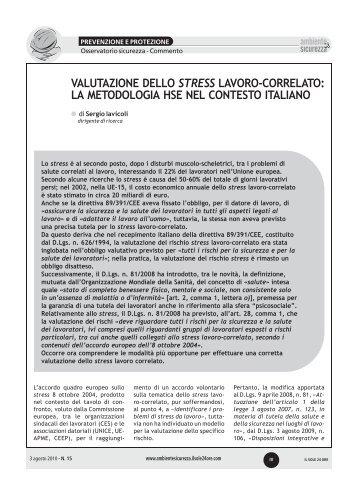 valutazione dello stress lavoro-correlato: la metodologia hse ... - Ispesl