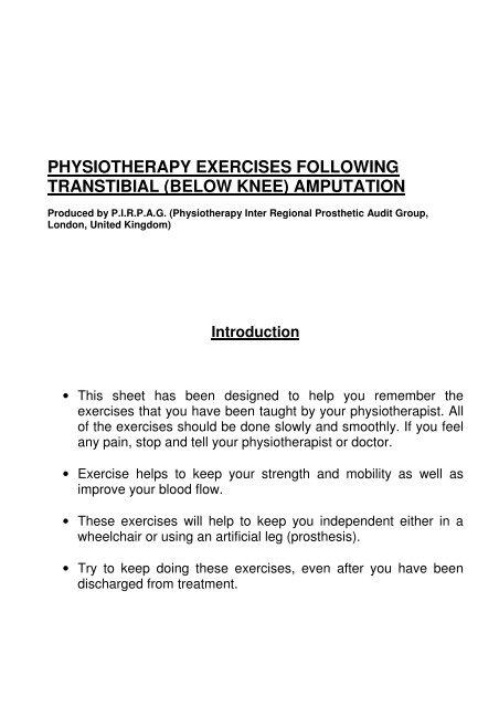 PIRPAG Exercises Post Transtibial Amputation - Ispo org uk
