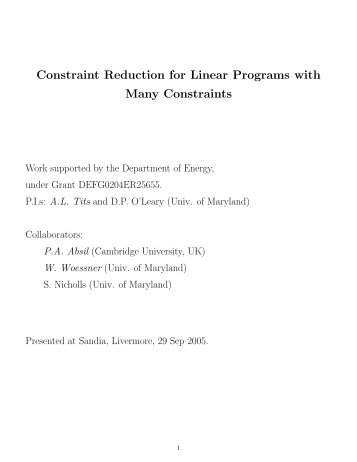 Constraint Reduction for Linear Programs with Many Constraints
