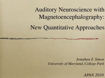 Auditory Neuroscience with Magnetoencephalography - Institute for ...