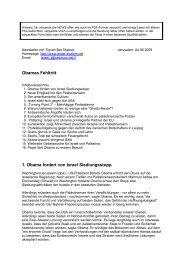 05.06.2009 Obamas Fehltritt - Israel Shalom