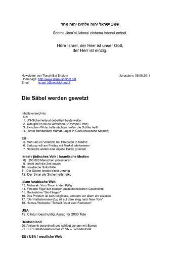09.08.2011 Die Säbel werden gewetzt - Israel Shalom