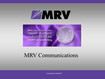 MRV Communications - Israel Trade Commission