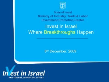 For Israel ITC sector presentation - Israel Trade Commission