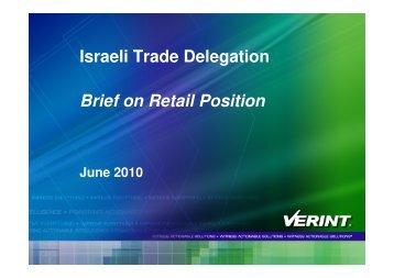 Israeli Trade Delegation Brief on Retail Position - Israel Trade ...