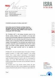 Innovation award of German printing industry ... - ISRA VISION AG