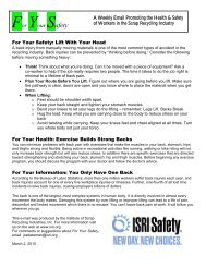 For Your Safety: Life With Your Head - ISRI Safety