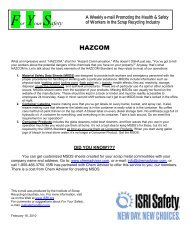 For Your Safety: February 16, 2010 - ISRI Safety