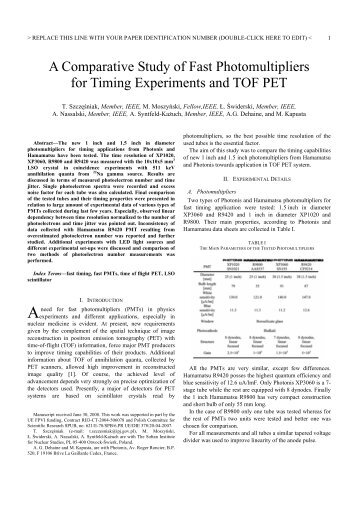 A Comparative Study of Fast Photomultipliers for Timing ...