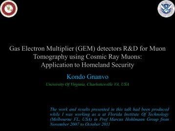 Gas Electron Multiplier (GEM) detectors R&D for Muon Tomography ...