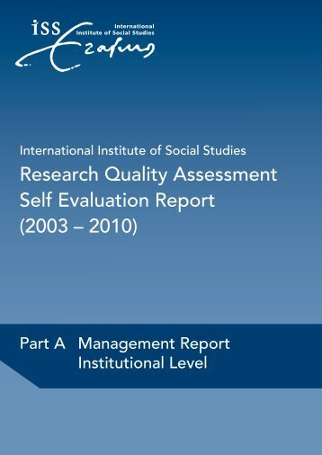 Research Quality Assessment Self Evaluation Report (2003 ... - ISS