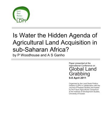 Is Water the Hidden Agenda of Agricultural Land Acquisition in ... - ISS