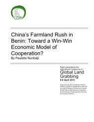 China's Farmland Rush in Benin: Toward a Win-Win Economic ... - ISS