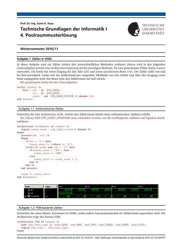 Technische Grundlagen der Informatik I 4. Poolraummusterlösung