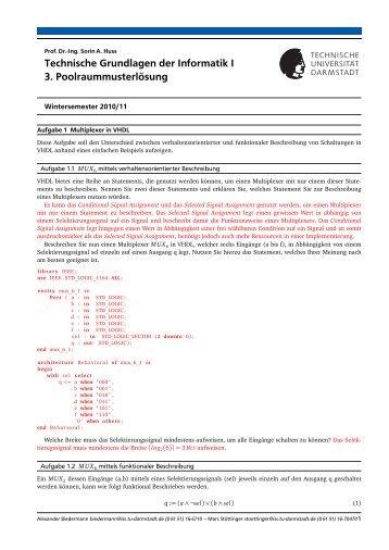 Technische Grundlagen der Informatik I 3. Poolraummusterlösung