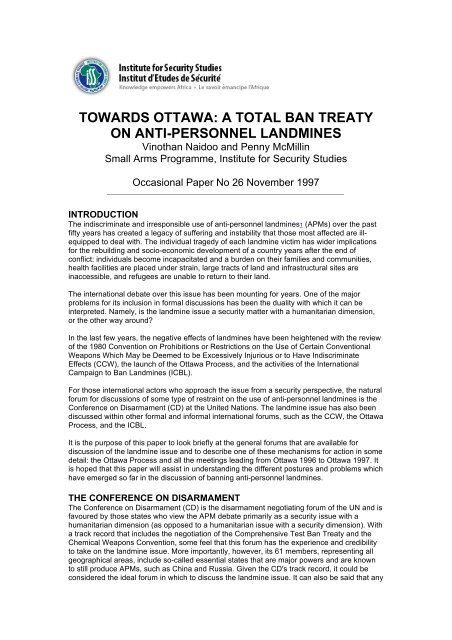 Citizen Diplomacy and Human Security Disarmament Banning Landmines