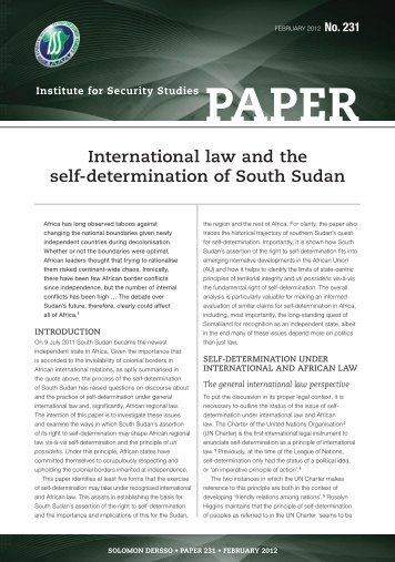 International Law and the Self-Determination of South Sudan
