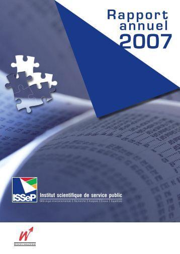 Rapport annuel - Institut scientifique de service public