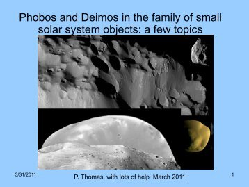Phobos and Deimos in the family of small solar system bodies - ISSI