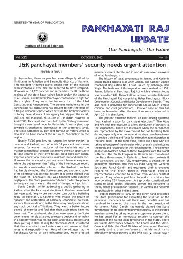 Local Governance in Jammu and Kashmir: Historical Perspective and Future Trends