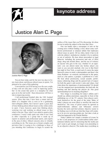 Justice Alan C. Page keynote address - Issues in Sport