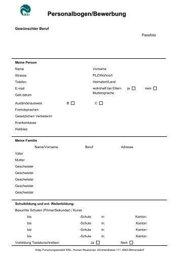 Personalbogen Einfach