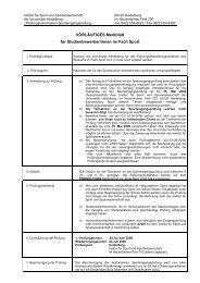 VORLÄUFIGES Merkblatt für Studienbewerber/innen im Fach Sport
