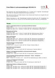 Freie Plätze in Lehrveranstaltungen WS 2013/14 - Institut für Sport ...