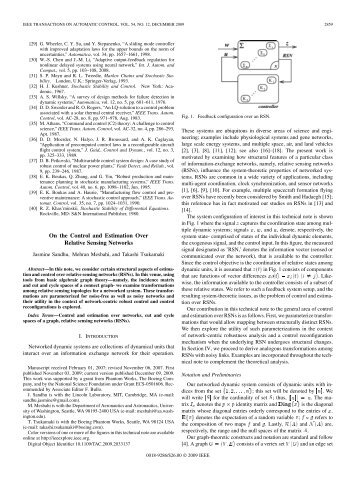 On the Control and Estimation Over Relative Sensing ... - IEEE Xplore