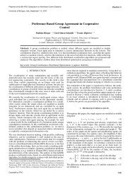 Preference Based Group Agreement in Cooperative ... - uni-stuttgart