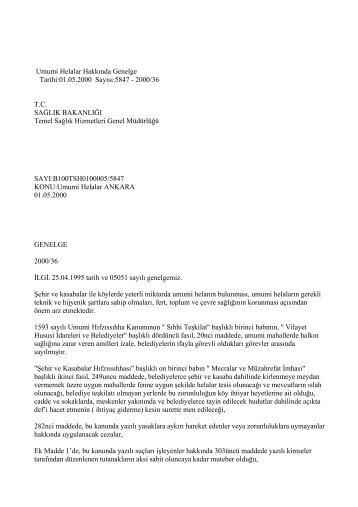 Umumi Helalar Hakkında Genelge - İstanbul İl Sağlık Müdürlüğü