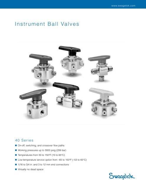 3//8 in Swagelok SS-44S6 NEW 1-Piece 40 Series Ball Valve Swagelok Tube Fitting