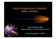 Critical Infrastructure Protection Italian activities - ISCOM