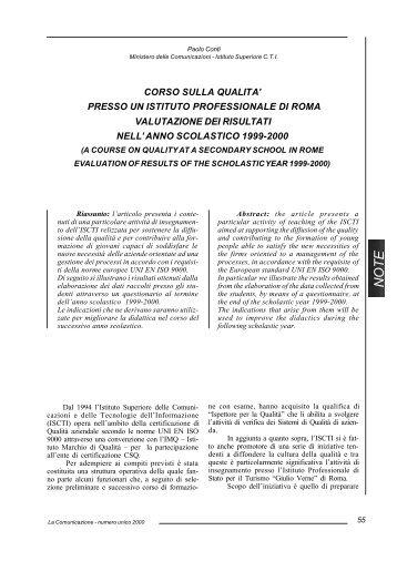 presso un istituto professionale di roma valutazione dei risultati nell