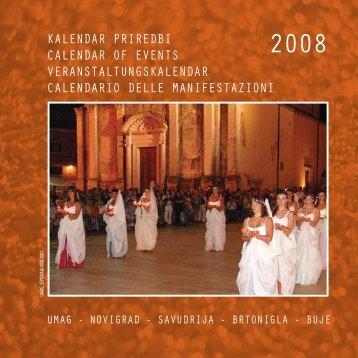 kalendar priredbi calendar of events veranstaltungskalendar ... - Istra