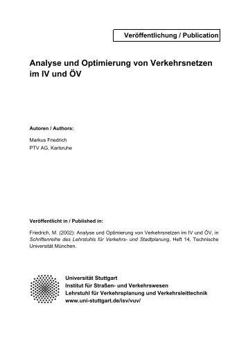 Analyse und Optimierung von Verkehrsnetzen im IV und ÖV