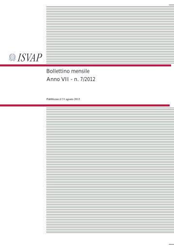 Bollettino mensile Anno VII - n. 7/2012 - Isvap