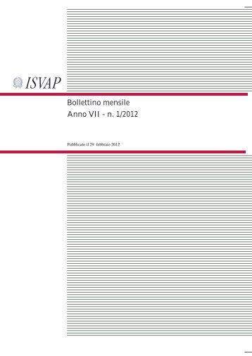 Bollettino mensile Anno VII - n. 1/2012 - Isvap