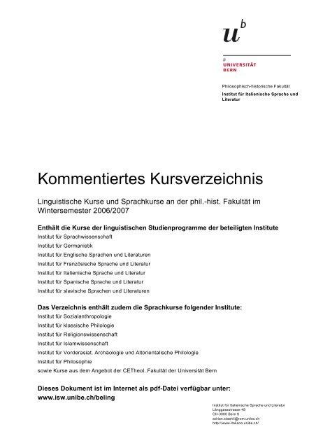 Kommentiertes Kursverzeichnis Institut Fa R Sprachwissenschaft
