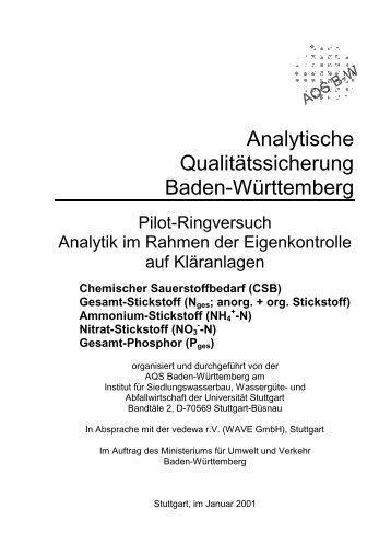 Analytik im Rahmen der Eigenkontrolle auf Kläranlagen - Institut für ...