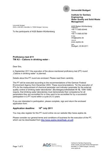 Proficiency test 4/11 TW A3 – Cations in drinking water - Universität ...