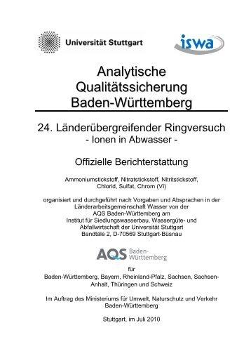 offizieller Auswertebericht: Ionen in Abwasser - Institut für ...
