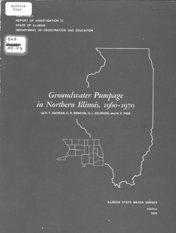 Groundwater Pumpage in Northern Illinois, 1960-1970 - Illinois State ...