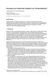 Konzepte und funktionaler Vergleich von Thread-Systemen
